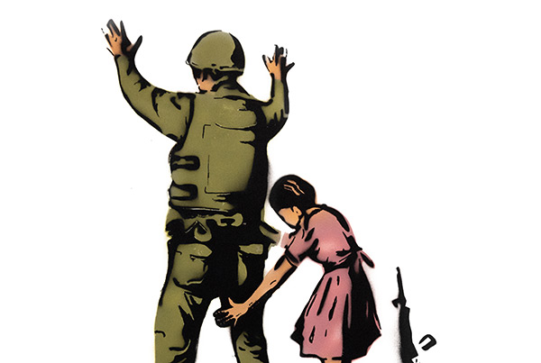 Girl Frisking Soldier